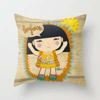 bonjour Throw Pillows featuring Bonjour by maru y su cabeza