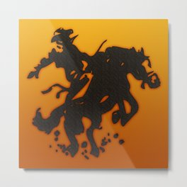 Cowboy Bronco Riding Metal Print