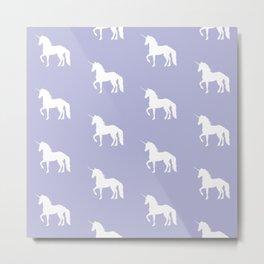 Prancing Unicorn on Lavender Metal Print