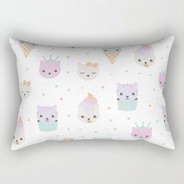 Kawaii breeze summer kitty cupcake cats and snow one ice cream kittens Rectangular Pillow