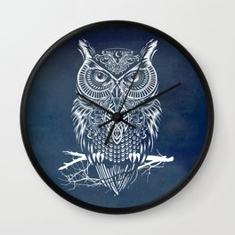 Warrior Owl Night Wall Clock