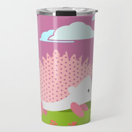 Hedgehog , Purple , flowers , nursery decor Travel Mug