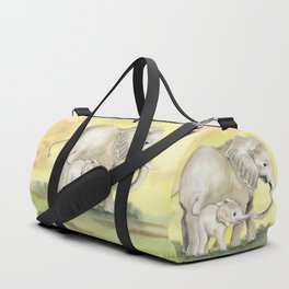 Colorful Mom and Baby Elephant 2 Duffle Bag