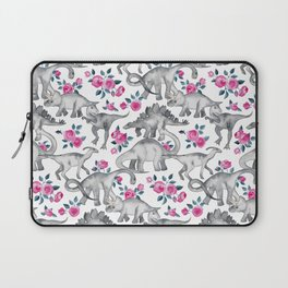 Dinosaurs and Roses - white Laptop Sleeve