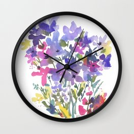Little Fairy Field Flowers Wall Clock