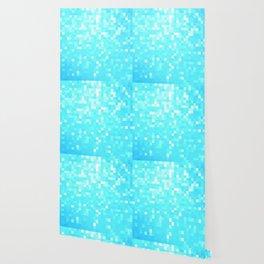 turquoise Pixel Sparkle Wallpaper