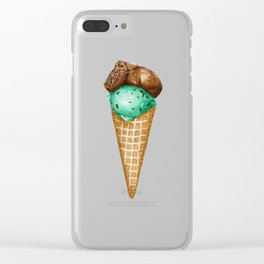 Mint Chocolate Ice Cream in Watercolor Clear iPhone Case