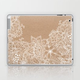 Modern white hand drawn floral illustration on rustic beige faux kraft color block Laptop & iPad Skin