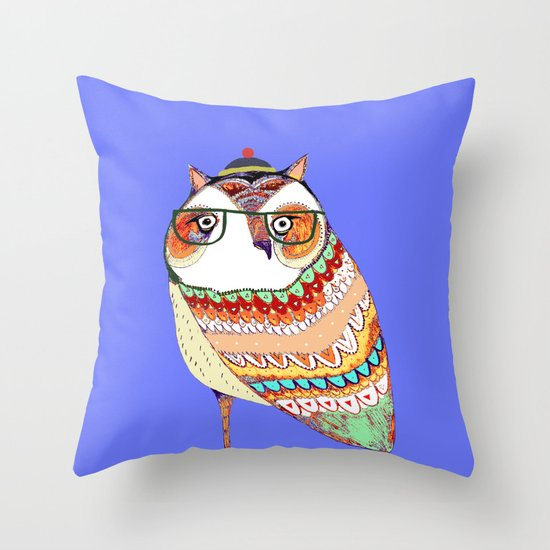 Owl, owl art, owl illustration, owl print,  Throw Pillow