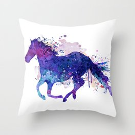 Running Horse Watercolor Silhouette Throw Pillow