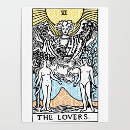 Geometric Tarot Print - The Lovers Poster