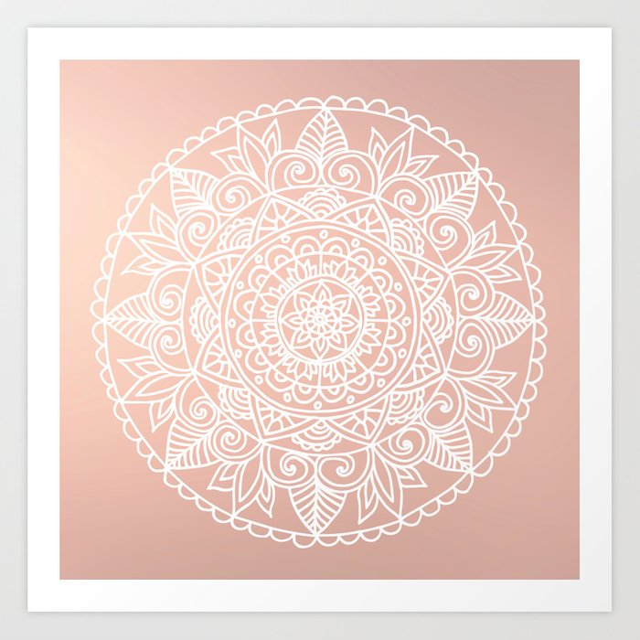 White Mandala on Rose Gold Art Print