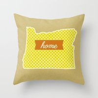 oregon Throw Pillows featuring Oregon by Embellished Key