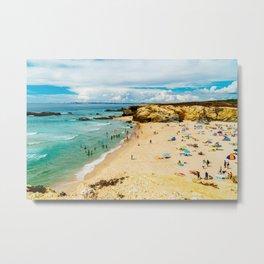 People Having Fun On Beach, Algarve Lagos Portugal, Tourists In Summer Vacation, Wall Art Decor Metal Print