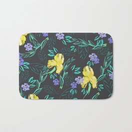 Yellow iris and periwinkle watercolour & ink pattern in black Bath Mat