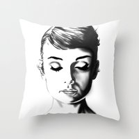 audrey hepburn Throw Pillows featuring Audrey Hepburn by Geryes