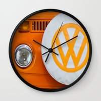 volkswagen Wall Clocks featuring Volkswagen Orange by Alice Gosling
