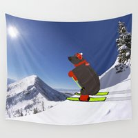 hippo Wall Tapestries featuring Hippo athlete by Denzalman