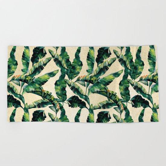 Banana Leaf Pattern Linen Beach Towel