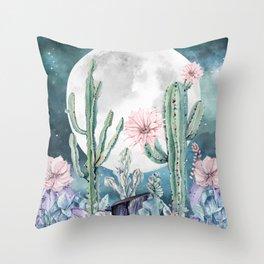 Desert Cactus Full Moon Succulent Garden Night Sky Stars Throw Pillow