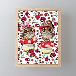 CUTE OWLS & LADYBUGS Framed Mini Art Print