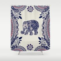 elephant Shower Curtains featuring Elephant Pink by rskinner1122