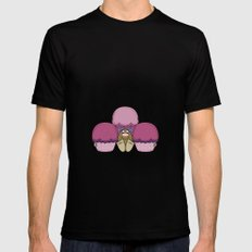 Cute Monster With Pink And Purple Frosted Cupcakes MEDIUM Mens Fitted Tee Black