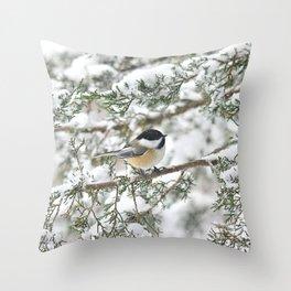 Snowstorm Chickadee Throw Pillow