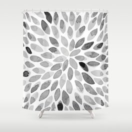 Watercolor brush strokes - black and white Shower Curtain