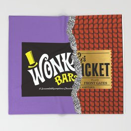 Wonka's Golden Ticket Chocolate Throw Blanket