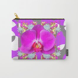 Modern Art Lilac-White Orchid Grey Patterns Carry-All Pouch