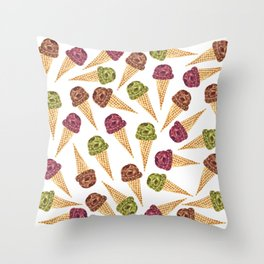 Watercolor Ice Cream Cones Throw Pillow