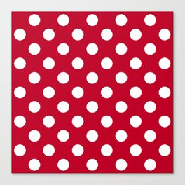 Red and Polka White Dots Canvas Print