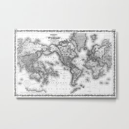 Black and White World Map (1860) Metal Print
