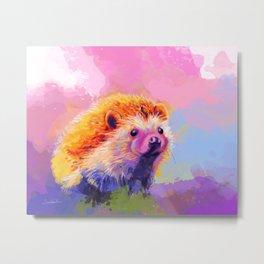 Sweet Hedgehog, cute pink and purple animal painting Metal Print