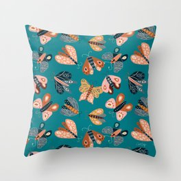 Moth Specimens – Teal Throw Pillow