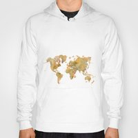 vintage map Hoodies featuring  World Map Yellow Vintage by City Art Posters