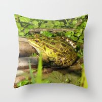 frog Throw Pillows featuring frog by giol's