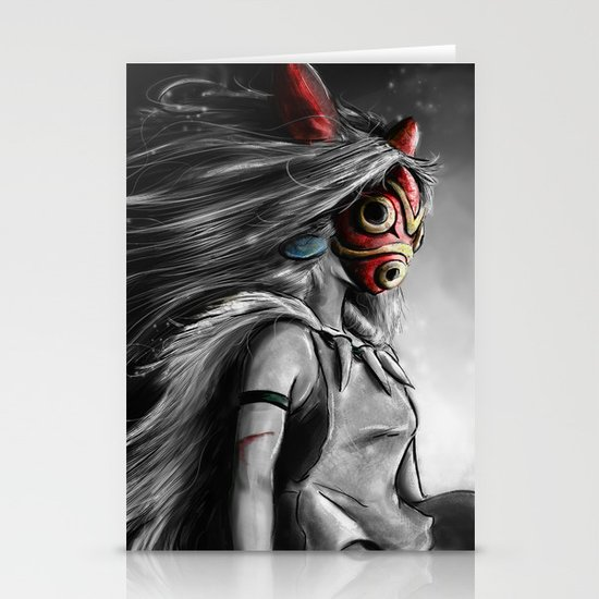 Miyazaki's Mononoke Hime Digital Painting the Wolf Princess Warrior Color Variation Stationery Cards