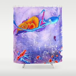 """Gods of the Sea"" Whale,Colossal Squid ,jellyfish and diver Ocean Animal Art Shower Curtain"
