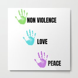 Colorful Non Violence Peace and Love Metal Print