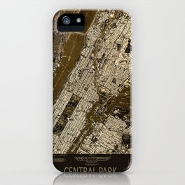 Central Park 1947, old vintage map, map poster new york iPhone Case