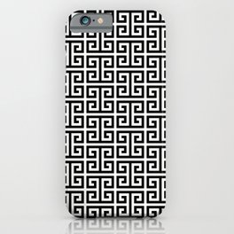 Black and White Greek Key Pattern iPhone Case