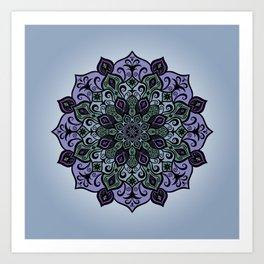 Purple and Green Mandala Art Art Print