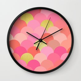 Golden and colorful spheres III Wall Clock