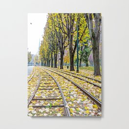 Tramway tracks in Turin Metal Print