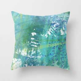 Teal, Blue Abstract Throw Pillow