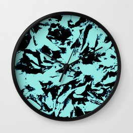 Turquoise Black Abstract Military Camouflage Wall Clock