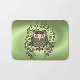 The Wise Old Owl .. fantasy bird Bath Mat