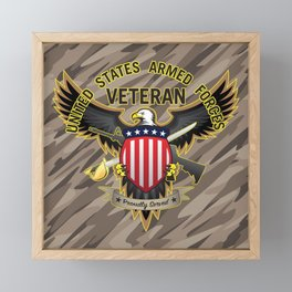 United States Armed Forces Military Veteran - Proudly Served Framed Mini Art Print